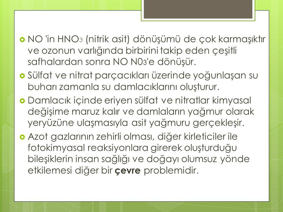 NO in HNO3 (nitrik asit) dönüşümü de çok karmaşıktır ve ozonun varlığında birbirini takip eden çeşitli safhalardan sonra NO N03 e dönüşür.
