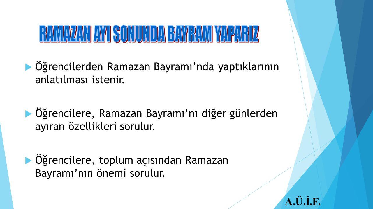 RAMAZAN AYI SONUNDA BAYRAM YAPARIZ