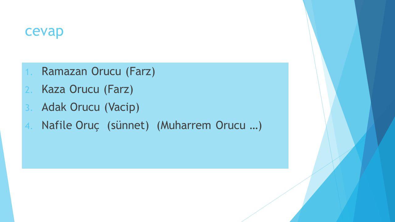 cevap Ramazan Orucu (Farz) Kaza Orucu (Farz) Adak Orucu (Vacip)