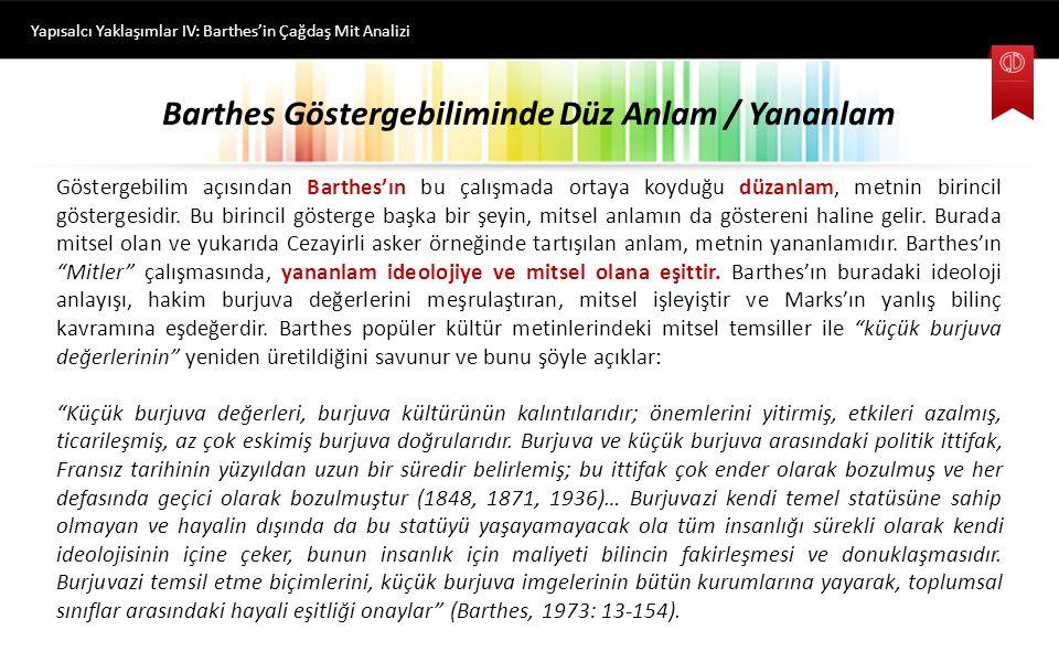 Barthes Göstergebiliminde Düz Anlam / Yananlam