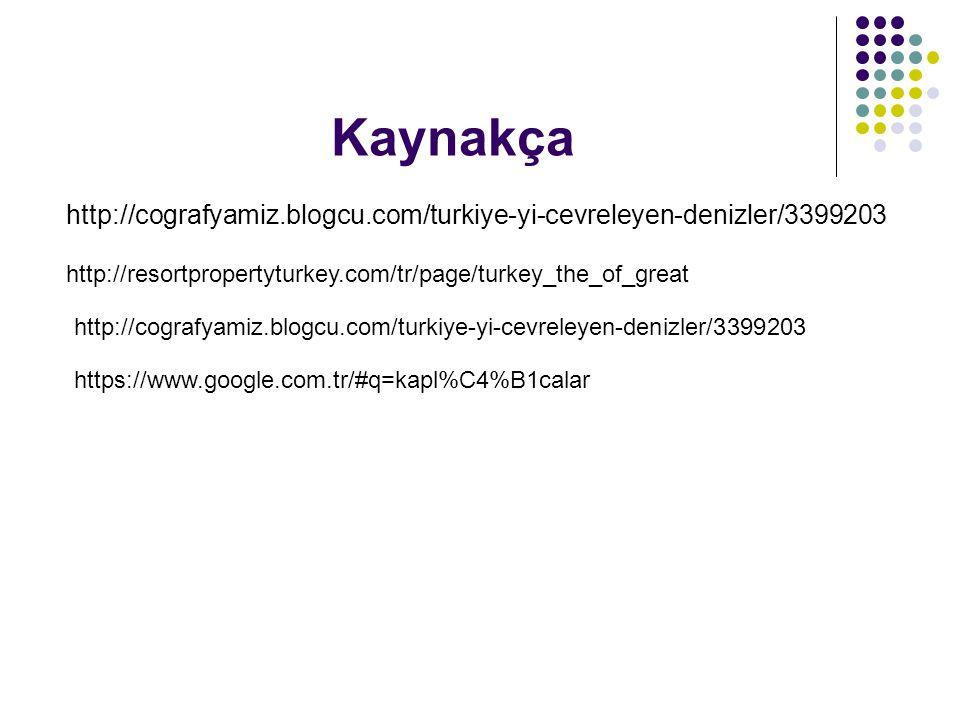 Kaynakça http://cografyamiz.blogcu.com/turkiye-yi-cevreleyen-denizler/3399203. http://resortpropertyturkey.com/tr/page/turkey_the_of_great.