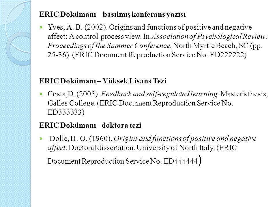 ERIC Dokümanı – basılmış konferans yazısı