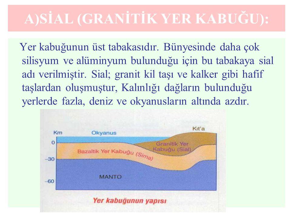 A)SİAL (GRANİTİK YER KABUĞU):