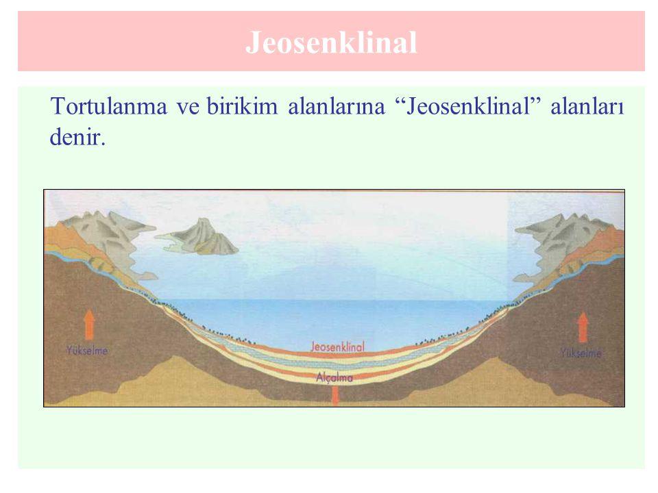 Jeosenklinal Tortulanma ve birikim alanlarına Jeosenklinal alanları denir.