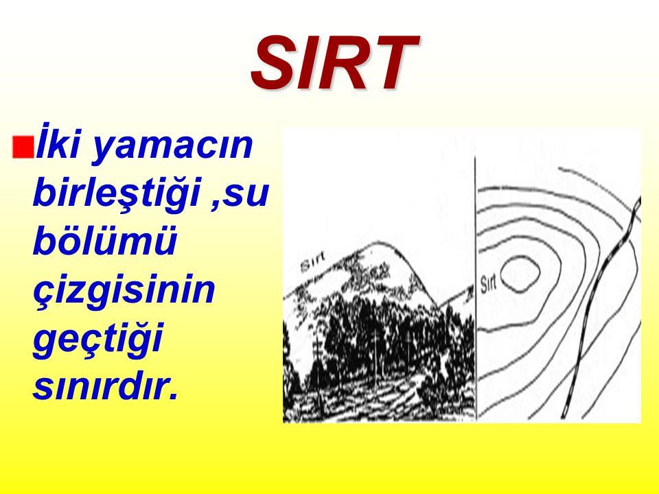 SIRT İki yamacın birleştiği ,su bölümü çizgisinin geçtiği sınırdır.