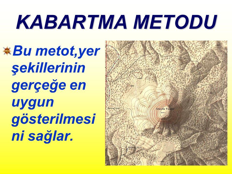 KABARTMA METODU Bu metot,yer şekillerinin gerçeğe en uygun gösterilmesini sağlar.