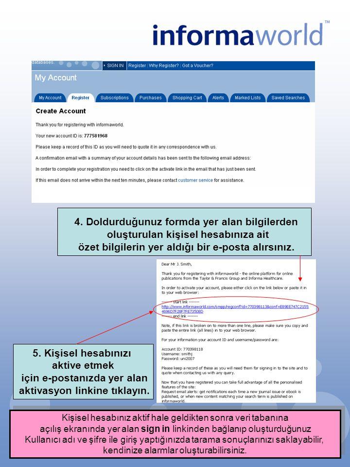 4. Doldurduğunuz formda yer alan bilgilerden