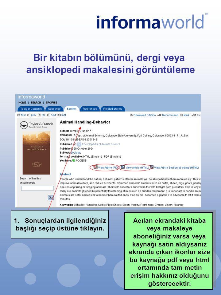 Bir kitabın bölümünü, dergi veya ansiklopedi makalesini görüntüleme