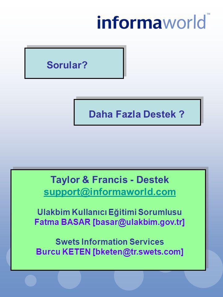 Taylor & Francis - Destek support@informaworld.com