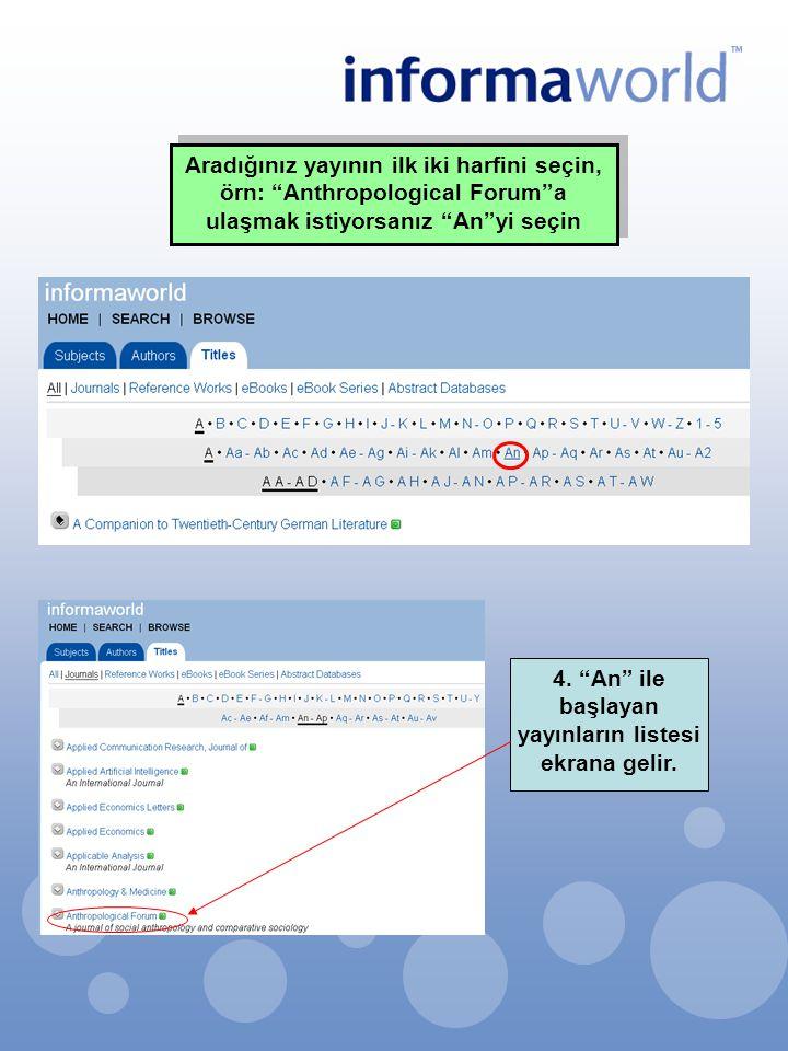 4. An ile başlayan yayınların listesi ekrana gelir.