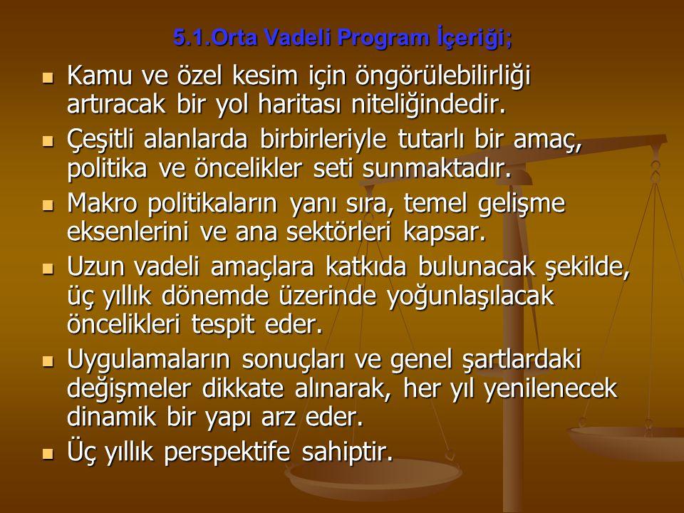 5.1.Orta Vadeli Program İçeriği;