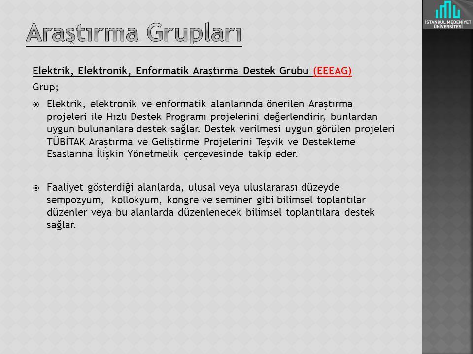 Araştırma Grupları Elektrik, Elektronik, Enformatik Araştırma Destek Grubu (EEEAG) Grup;