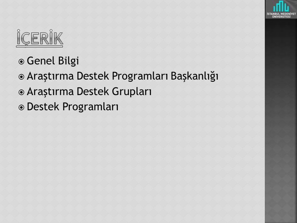 İÇERİK Genel Bilgi Araştırma Destek Programları Başkanlığı
