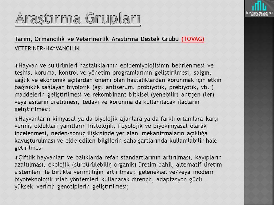 Araştırma Grupları Tarım, Ormancılık ve Veterinerlik Araştırma Destek Grubu (TOVAG) VETERİNER-HAYVANCILIK.