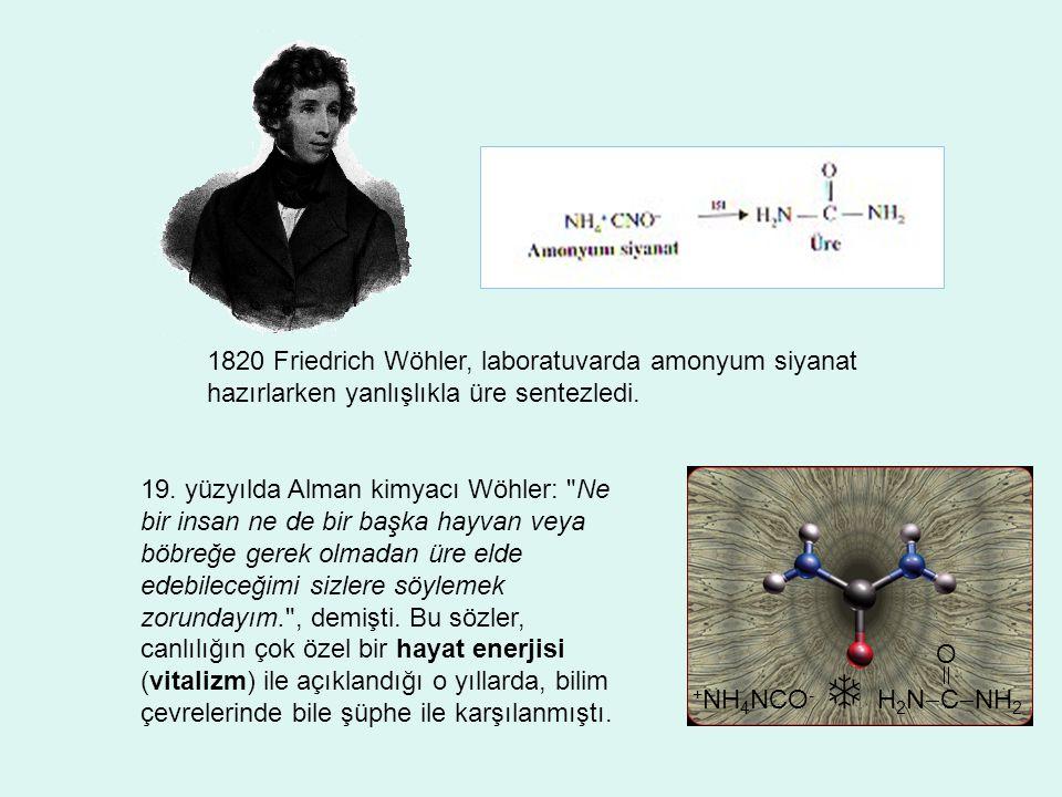 1820 Friedrich Wöhler, laboratuvarda amonyum siyanat hazırlarken yanlışlıkla üre sentezledi.