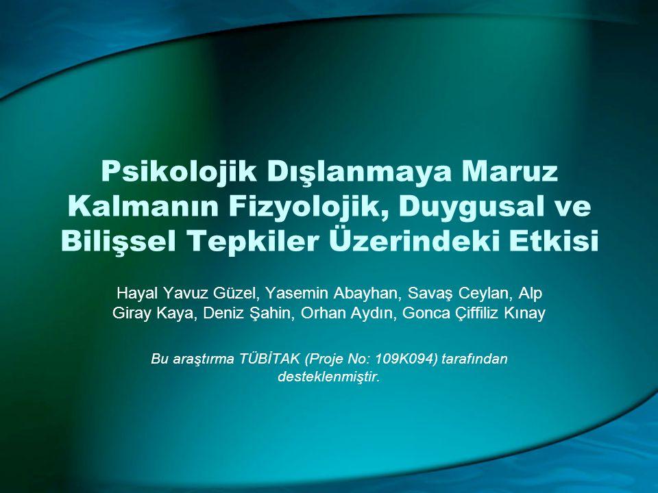 Bu araştırma TÜBİTAK (Proje No: 109K094) tarafından desteklenmiştir.