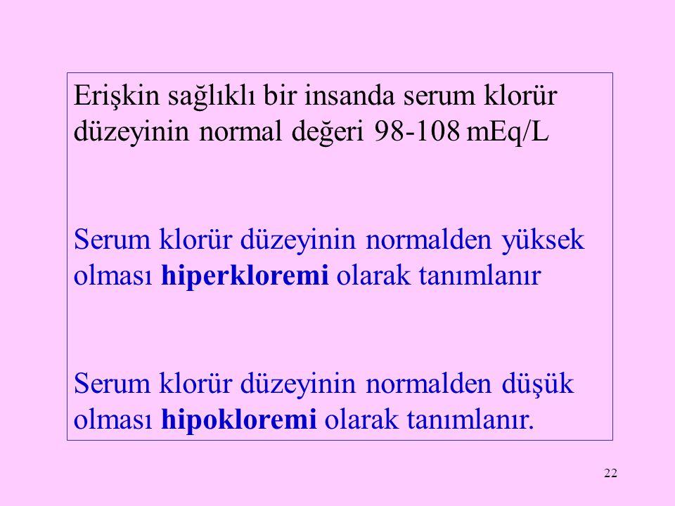 Erişkin sağlıklı bir insanda serum klorür düzeyinin normal değeri 98-108 mEq/L