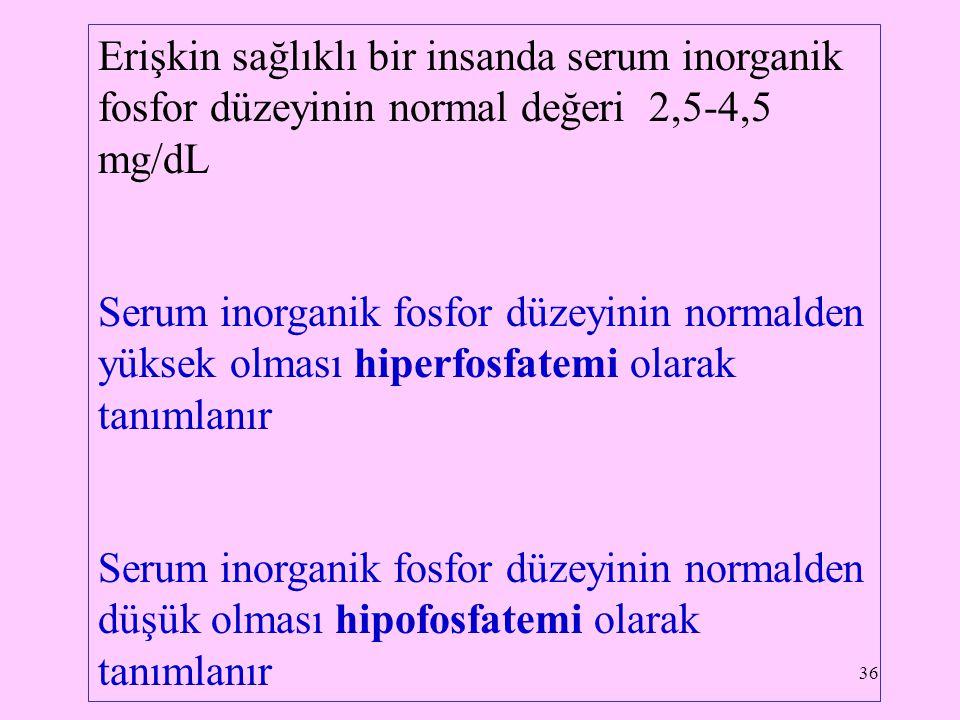Erişkin sağlıklı bir insanda serum inorganik fosfor düzeyinin normal değeri 2,5-4,5 mg/dL