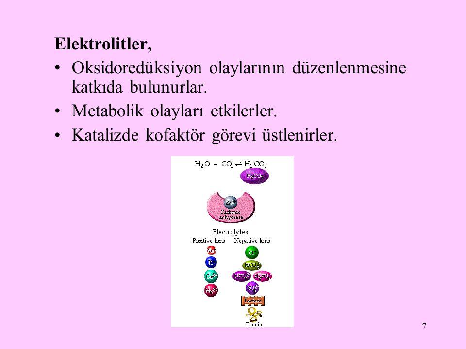 Elektrolitler, Oksidoredüksiyon olaylarının düzenlenmesine katkıda bulunurlar. Metabolik olayları etkilerler.