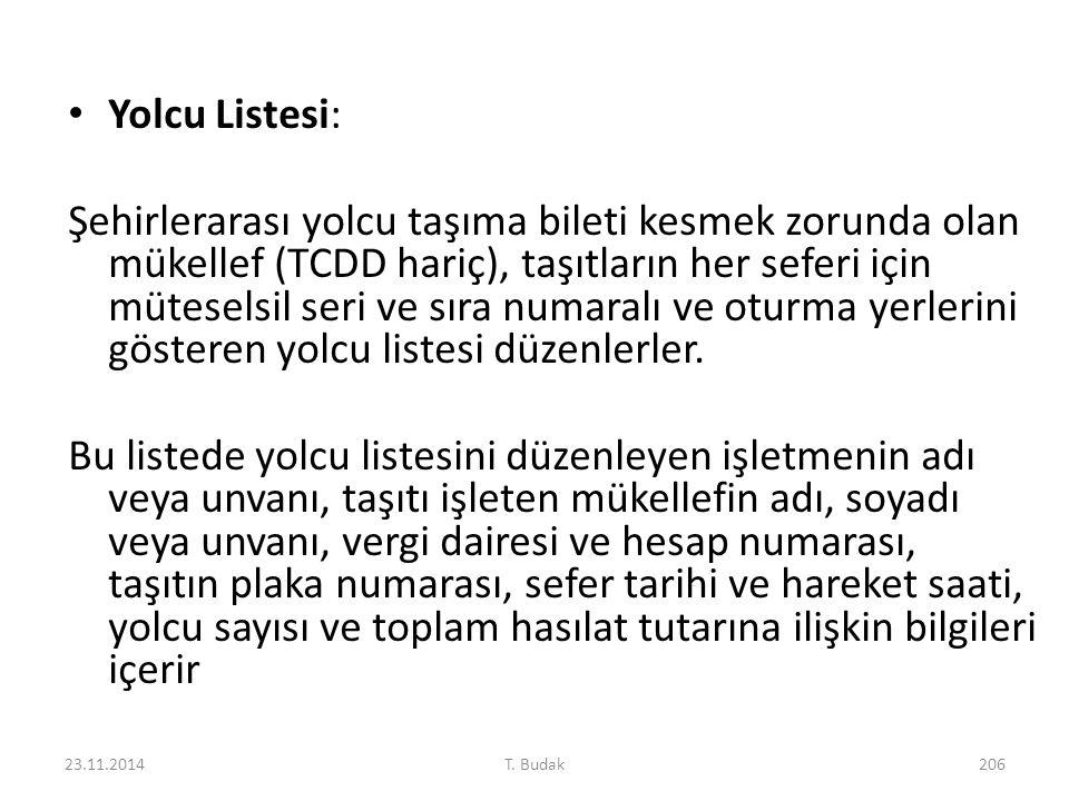 Yolcu Listesi: