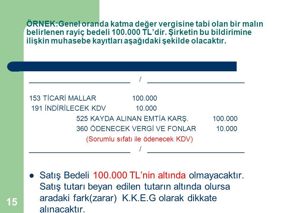 ÖRNEK:Genel oranda katma değer vergisine tabi olan bir malın belirlenen rayiç bedeli 100.000 TL'dir. Şirketin bu bildirimine ilişkin muhasebe kayıtları aşağıdaki şekilde olacaktır.