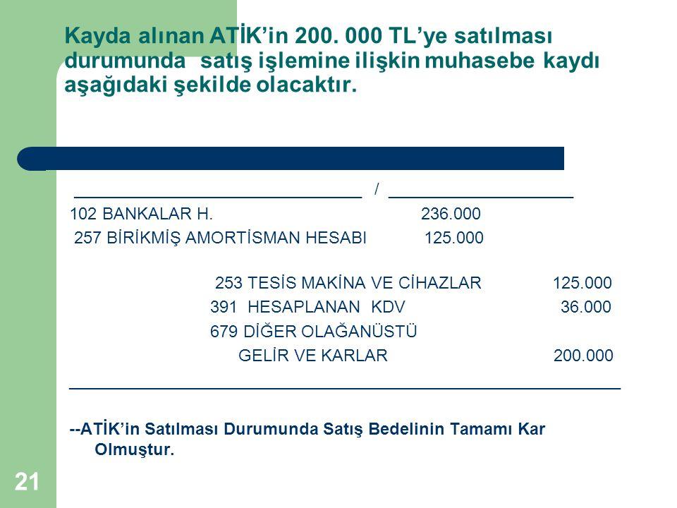 Kayda alınan ATİK'in 200. 000 TL'ye satılması durumunda satış işlemine ilişkin muhasebe kaydı aşağıdaki şekilde olacaktır.