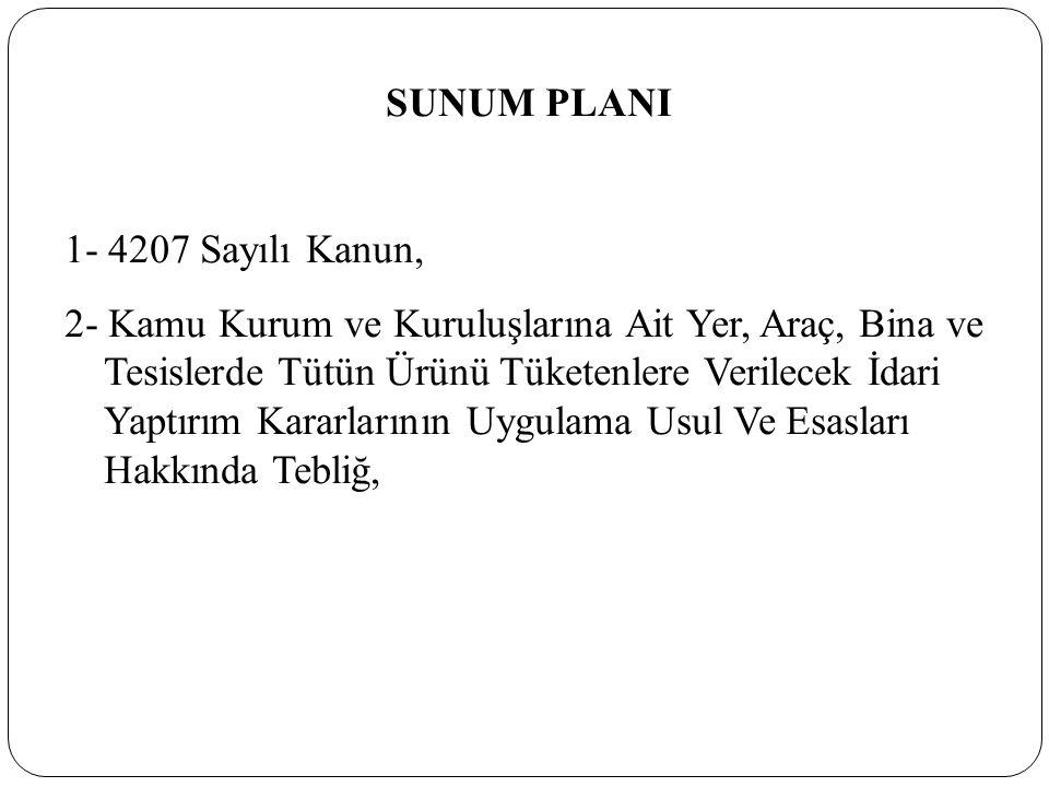 SUNUM PLANI 1- 4207 Sayılı Kanun,