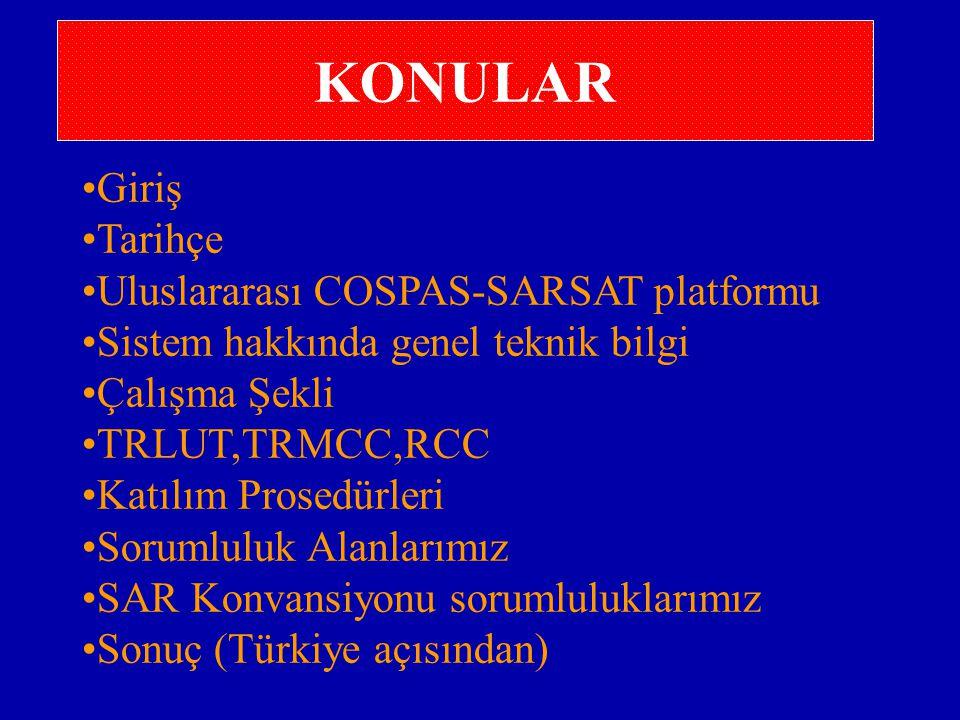 KONULAR Giriş Tarihçe Uluslararası COSPAS-SARSAT platformu