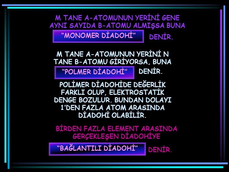 M TANE A-ATOMUNUN YERİNİ GENE AYNI SAYIDA B-ATOMU ALMIŞSA BUNA
