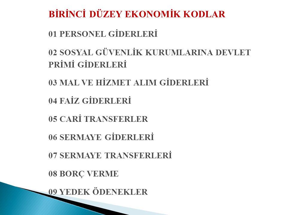 BİRİNCİ DÜZEY EKONOMİK KODLAR 01 PERSONEL GİDERLERİ