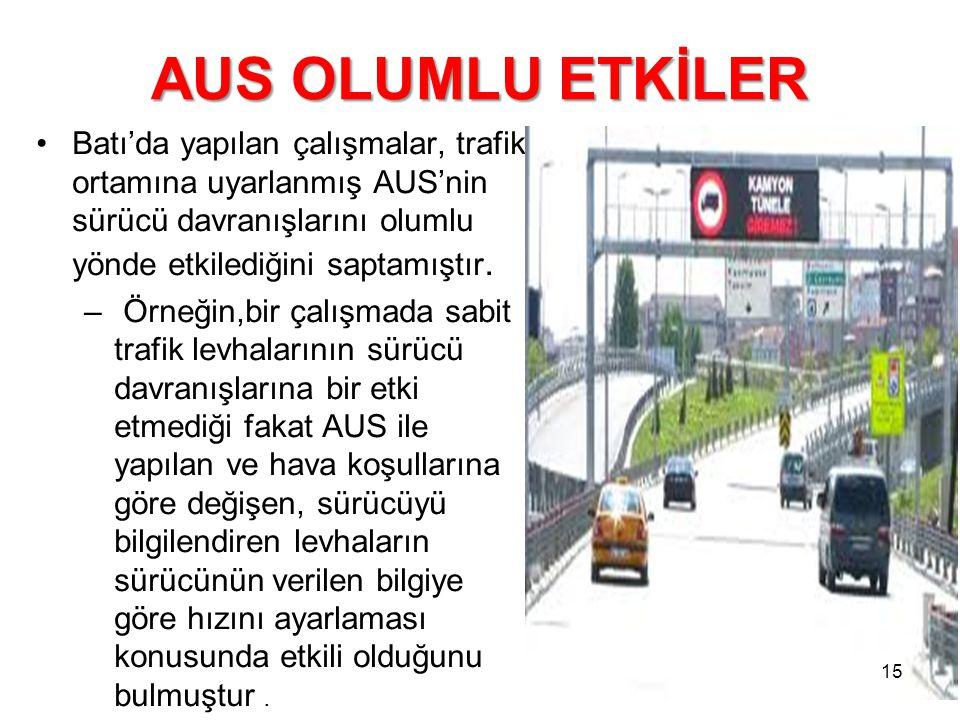 AUS OLUMLU ETKİLER Batı'da yapılan çalışmalar, trafik ortamına uyarlanmış AUS'nin sürücü davranışlarını olumlu yönde etkilediğini saptamıştır.