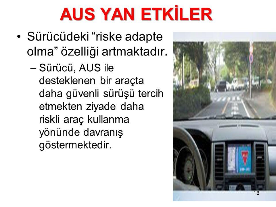 AUS YAN ETKİLER Sürücüdeki riske adapte olma özelliği artmaktadır.