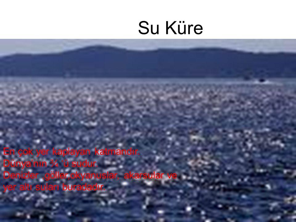 Su Küre En çok yer kaplayan katmandır. Dünya'nın ¾ 'ü sudur.