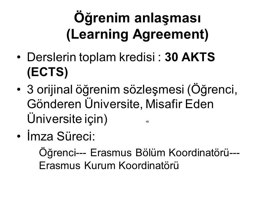 Öğrenim anlaşması (Learning Agreement)