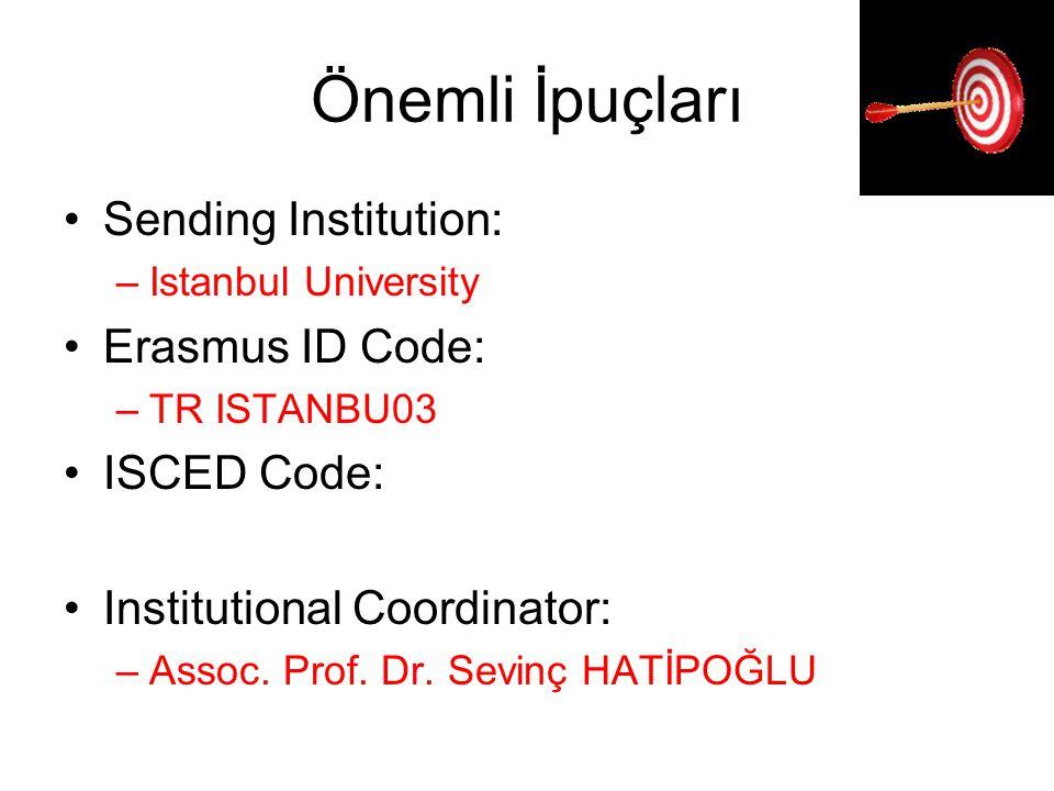 Önemli İpuçları Sending Institution: Erasmus ID Code: ISCED Code: