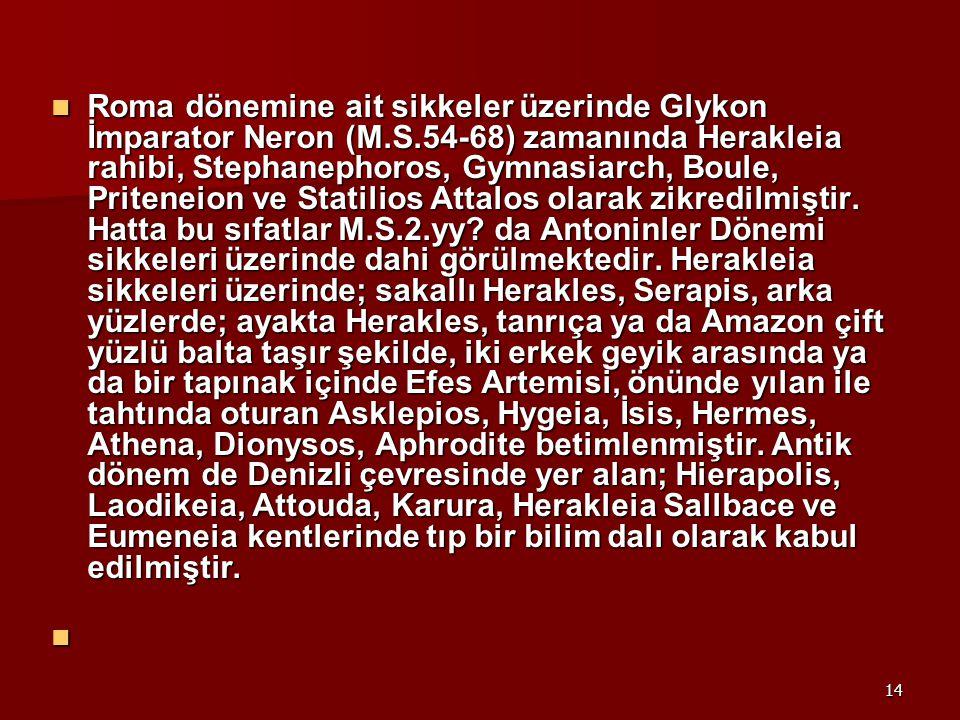Roma dönemine ait sikkeler üzerinde Glykon İmparator Neron (M. S