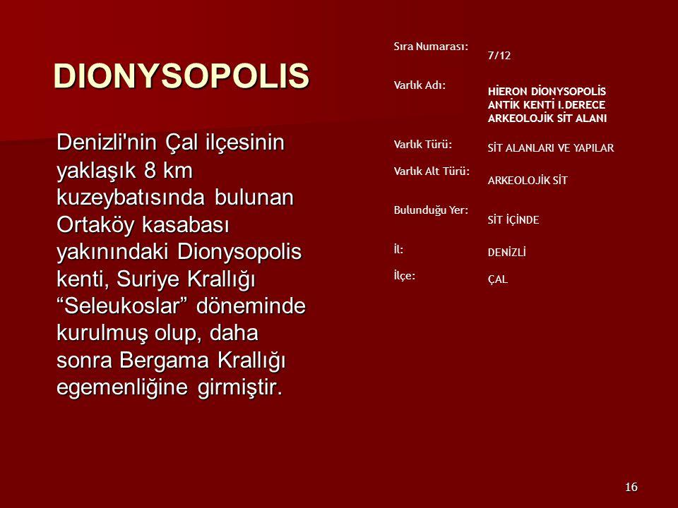 Sıra Numarası: 7/12. Varlık Adı: HİERON DİONYSOPOLİS ANTİK KENTİ I.DERECE ARKEOLOJİK SİT ALANI. Varlık Türü: