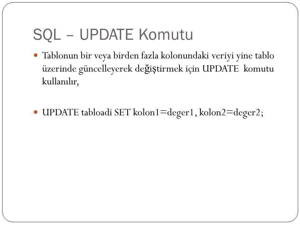 SQL – UPDATE Komutu Tablonun bir veya birden fazla kolonundaki veriyi yine tablo üzerinde güncelleyerek değiştirmek için UPDATE komutu kullanılır,