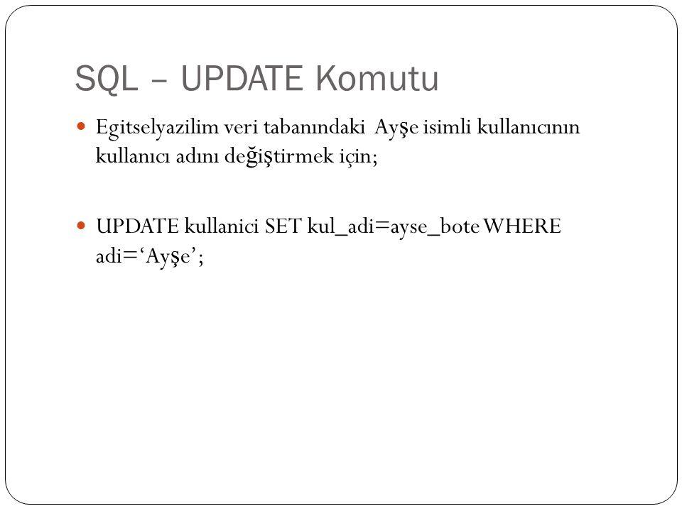 SQL – UPDATE Komutu Egitselyazilim veri tabanındaki Ayşe isimli kullanıcının kullanıcı adını değiştirmek için;