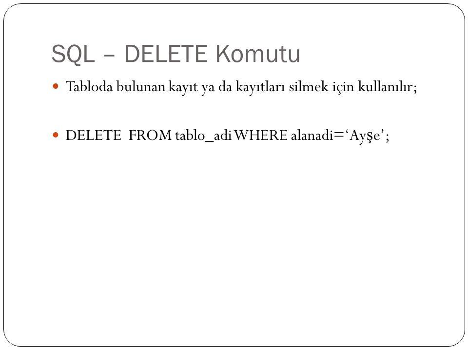 SQL – DELETE Komutu Tabloda bulunan kayıt ya da kayıtları silmek için kullanılır; DELETE FROM tablo_adi WHERE alanadi='Ayşe';