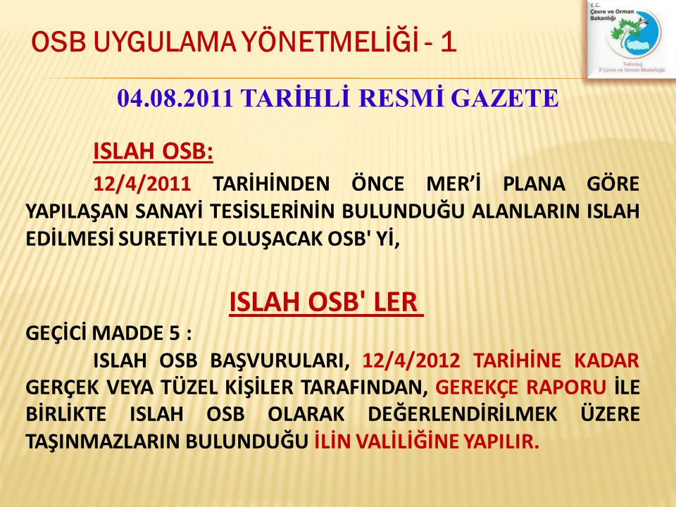 OSB UYGULAMA YÖNETMELİĞİ - 1