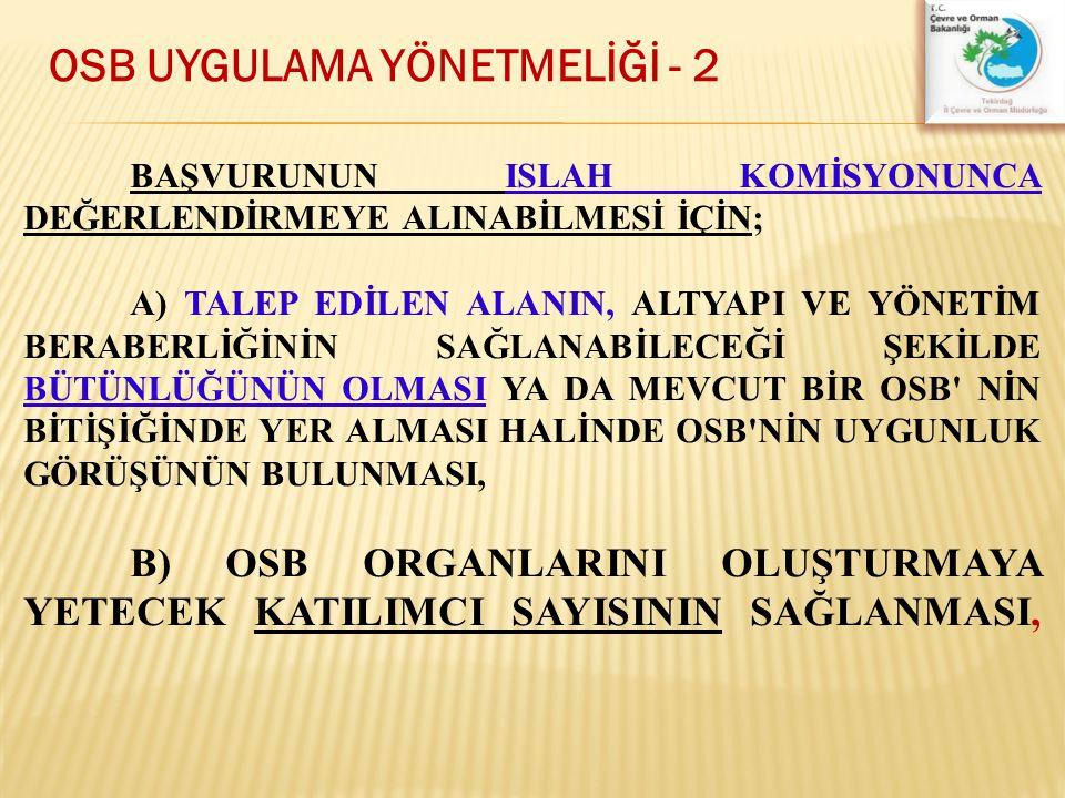 OSB UYGULAMA YÖNETMELİĞİ - 2
