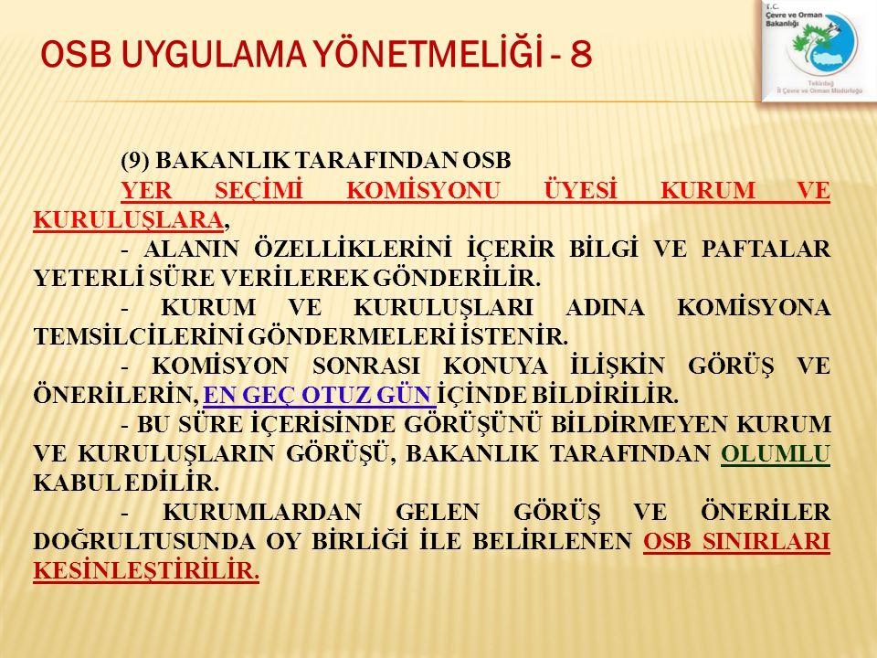 OSB UYGULAMA YÖNETMELİĞİ - 8