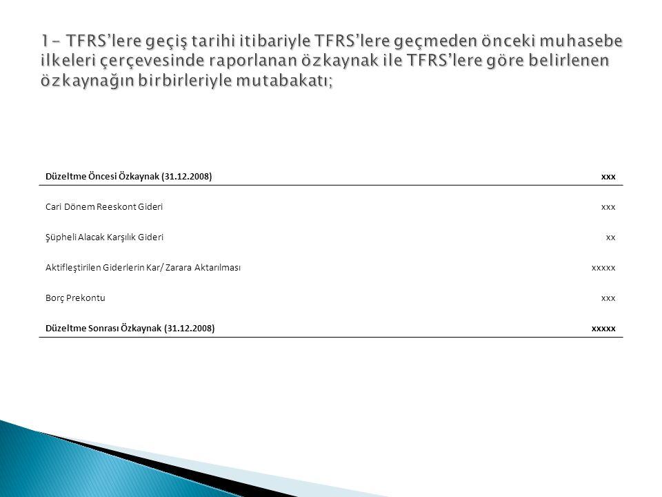 1- TFRS'lere geçiş tarihi itibariyle TFRS'lere geçmeden önceki muhasebe ilkeleri çerçevesinde raporlanan özkaynak ile TFRS'lere göre belirlenen özkaynağın birbirleriyle mutabakatı;