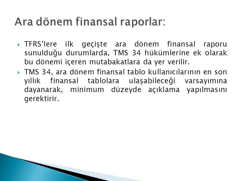 Ara dönem finansal raporlar: