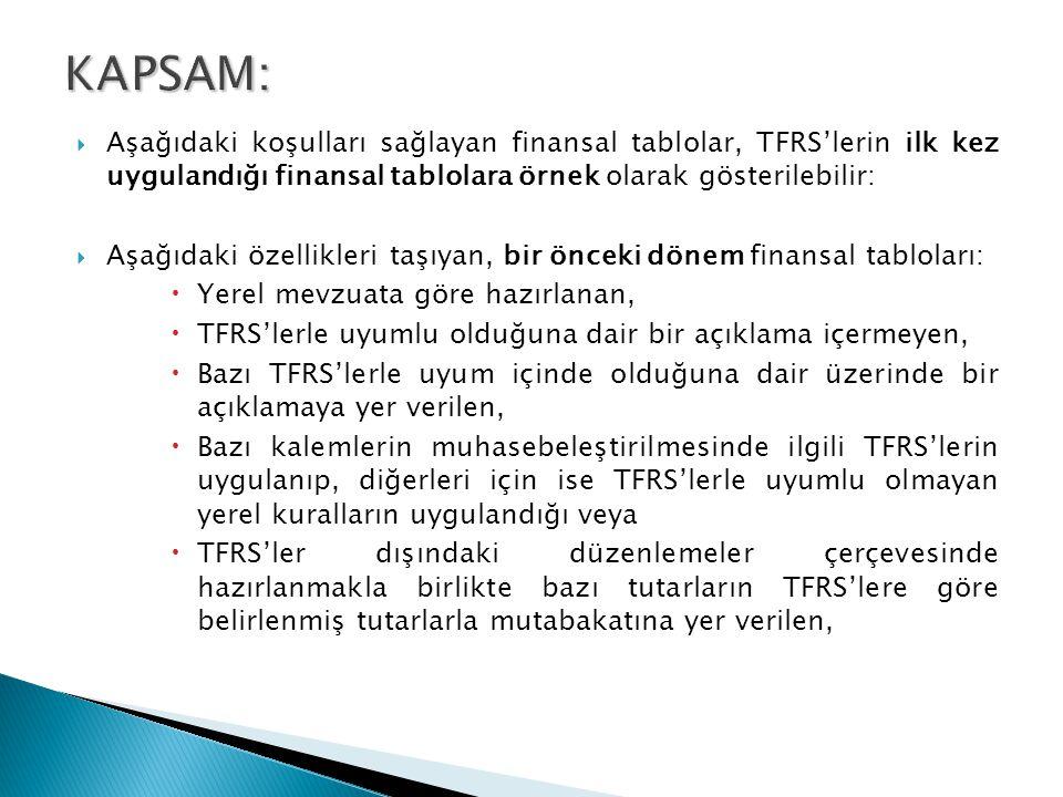 KAPSAM: Aşağıdaki koşulları sağlayan finansal tablolar, TFRS'lerin ilk kez uygulandığı finansal tablolara örnek olarak gösterilebilir: