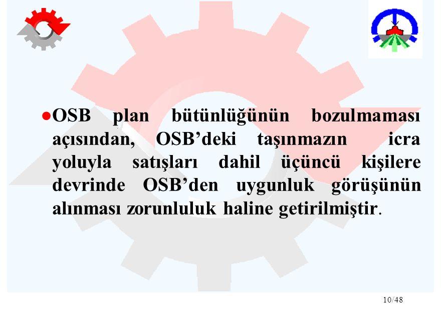 ●OSB plan bütünlüğünün bozulmaması açısından, OSB'deki taşınmazın icra yoluyla satışları dahil üçüncü kişilere devrinde OSB'den uygunluk görüşünün alınması zorunluluk haline getirilmiştir.