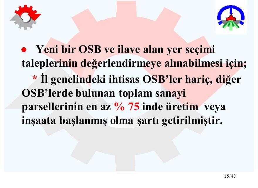 ● Yeni bir OSB ve ilave alan yer seçimi taleplerinin değerlendirmeye alınabilmesi için;