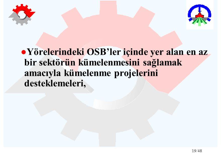 ●Yörelerindeki OSB'ler içinde yer alan en az bir sektörün kümelenmesini sağlamak amacıyla kümelenme projelerini desteklemeleri,