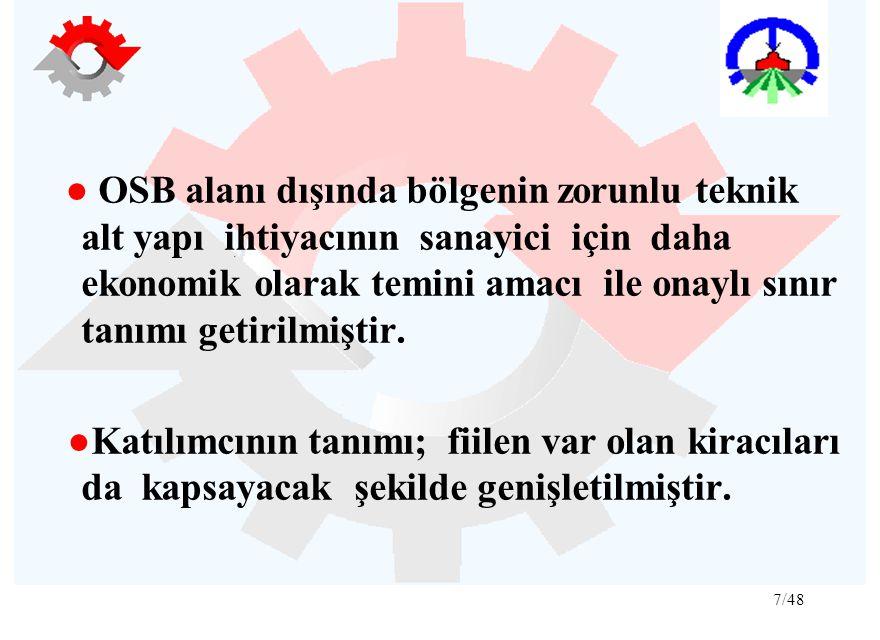 ● OSB alanı dışında bölgenin zorunlu teknik alt yapı ihtiyacının sanayici için daha ekonomik olarak temini amacı ile onaylı sınır tanımı getirilmiştir.